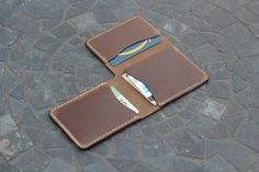 Handmade, handcrafted and hand stitched. This trifold wallet features three compartments for cash or cards. Made from beautiful Horween leather. Leather Wallet Pattern, Handmade Leather Wallet, Leather Gifts, Custom Leather Wallets, Best Wallet, Leather Art, Leather Projects, Leather Accessories, Leather Working
