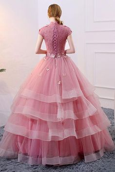 Unique pink tulle long prom dress, pink evening dress, Customized service and Rush order are available Pink Evening Dress, Evening Dresses With Sleeves, Indian Gowns Dresses, Pink Prom Dresses, Indian Fashion Dresses, Pretty Dresses, Beautiful Dresses, Gown Party Wear, Long Gown Dress
