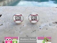 Monogram Baseball Earrings Baseball by MichelleriesBoutique