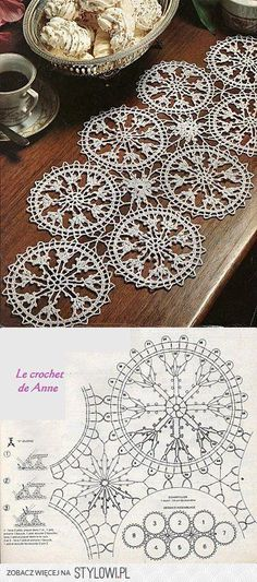 Serweta / Szydełko / Element Do Łączenia - DIY & Crafts Crochet Motif Patterns, Crochet Diagram, Tatting Patterns, Crochet Chart, Crochet Squares, Filet Crochet, Crochet Designs, Nape Crochet, Thread Crochet
