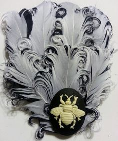 Bee, Bee fascinator, Insect, Bug, Bee Cameo, Black and white, Pin up, boho, gifts for her, pinup, rockabilly