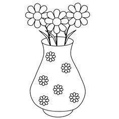 Leuk voor kids kleurplaat ~ Een vaas met bloemetjes
