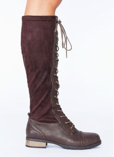 lace-up faux leather contrast boots