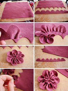 Siga o passo a passo e Faça Você Mesmo uma flor de feltro, bem simples e prática, mas linda!:
