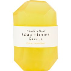 Pelle Rock Citrine/Lemon Basil Rock Soap - Medium (665 INR) ❤ liked on Polyvore featuring beauty products, bath & body products, body cleansers, fillers, beauty, makeup, yellow fillers and yellow