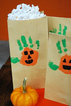 Hand-O-Lanterns craft + How to make brown bag microwave popcorn!