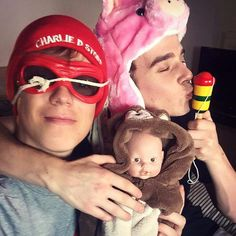 .Joe Sugg and Caspar Lee with emma lee!!
