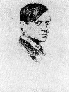 Pablo Picasso, seen here in a 1917 self-portrait, lived in Rome in 1917. He stayed in the Grand Hotel de Russie on Via del Babuino and painted in one of Patrizi's Studios at Via Margutta 53/54.