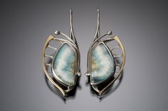 Nisa Jewelry:  Winged Hemimorphite Earrings with Red Brass..... sold.