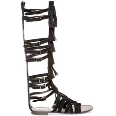 Steve Madden Villano Fringe Gladiator Flat Sandals (150 AUD) ❤ liked on Polyvore featuring shoes, sandals, flat sandals, fringe flat sandals, steve madden footwear, tall shoes and tall sandals