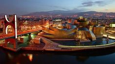 Spain - The Guggenheim Museum Bilbao is a museum of modern and contemporary art designed by Canadian-American architect Frank Gehry, and is located in Bilbao. Frank Gehry, Art After Dark, Guggenheim Museum Bilbao, Walt Disney Concert Hall, Wood Facade, Vitra Design Museum, Deconstructivism, Los Angeles Usa, Europe Holidays