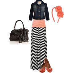 I have a navy and white maxi skirt - I could do this color tank under my jean jacket for something different! - Andrea Black and white striped maxi, blush shirt, jean jacket