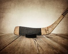 Vintage Hockey Stick and Puck on Wood Photo Print, Sports Decor, Vintage Hockey and Puck. For little boys room.