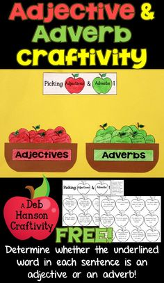 Check out this FREE Parts of Speech Craftivity! Students identify whether the underlined word within each sentence is an adjective or an adverb, and then assemble the craftivity! Grammar Games, Teaching Grammar, Teaching Writing, Student Teaching, Grammar Lessons, Kindergarten Writing, Writing Lessons, Writing Ideas, Teaching Ideas