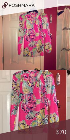 Lilly Pulitzer Elsa Beautiful and bright Lilly Elsa, perfect for spring! Worn once Lilly Pulitzer Tops Blouses