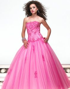 Rose tulle strapless ball gown