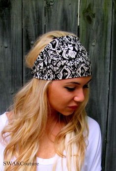 Yoga Wide Headband Turban Running Band Black White by SWAKCouture, $12.00