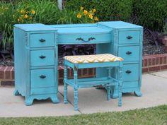 blue vanity / desk