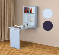 Wall Mount Writing Table Convertible Folding Computer Desk Storage Home Office #HOMCOM
