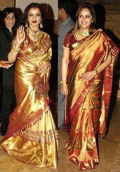 Rekha in golden color saree, Rekha latest photos in saree | Memsaab.com