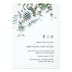 #Rustic watercolor blue floral wedding invitation - cyo customize design idea do it yourself diy