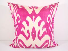 PINK Ikat pillow cover size, fast shipping from USA, best prices for handmade ikat fabrics and pillow cases, not printed all handmade Ikat Pillows, Accent Pillows, Decorative Pillows, Cushions, 20x20 Pillow Covers, Pillow Cases, Mission Chair, Ikat Fabric, Beds