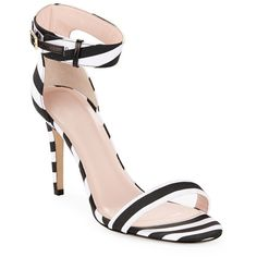 Kate Spade New York Isa Striped Heeled Sandals ($298) ❤ liked on Polyvore featuring shoes, sandals, kate spade, heeled sandals, kate spade sandals, striped shoes and stripe shoes