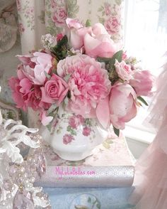 Pink flower arrangement- I have this teapot to use!
