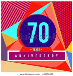 70th years greeting card anniversary with colorful number and frame. logo and icon with Memphis style cover and design template. Pop art style design poster and publication.