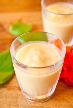 Pineapple Banana & Coconut Cream Smoothie~ Tastes like a virgin pina colada. Sweet, creamy, refreshing, and healthy. Vegan, gluten-free, and no need to add sugar since the fruit is sweet enough. Packed with potassium and Vitamin C to help keep germs at bay!