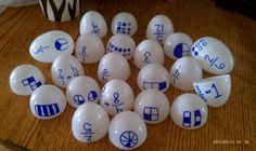 classroomcollective: Fraction Match: Egg Style!  Would be excellent if there was something to go in each also. Maybe blue & white chips or tokens or...