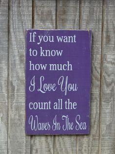 Beach Wedding Sign Nautical Nursery Purple by CarovaBeachCrafts, $37.00