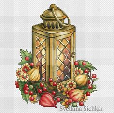 Lantern with Physalis by sa-pattern.com, PDF chart