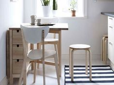 Kitchen:Small Wooden Kitchen Table Wooden Kitchen Chairs Small Kitchen Table Chairs For Small Kitchen Plan Striped Rugs Glass Window White Wall Color Paint White Ceramic Floor Picking The Most Effective Kitchen Chairs