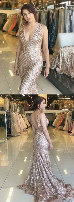 sexy v neck rose gold sequins mermaid long evening dress with train, formal dresses Best Prom Dresses, Formal Dresses, Military Ball, Gold Sequins, Indie Brands, Pageant, Beautiful Dresses, Evening Dresses, Mermaid