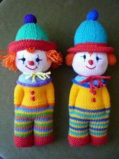 Knitting Pattern for Clown Doll Toy # 20 for sale online Baby Knitting Patterns, Knitted Doll Patterns, Knitted Dolls, Loom Knitting, Crochet Toys, Crochet Baby, Crochet Patterns, Knitting Toys, Double Knitting