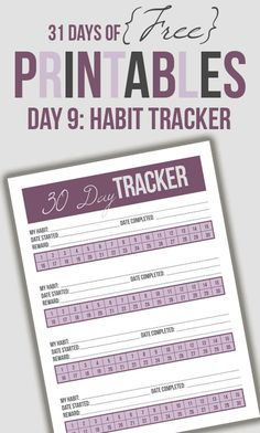 Printable 30 day habit tracker to help with goal setting and establishing new habits.