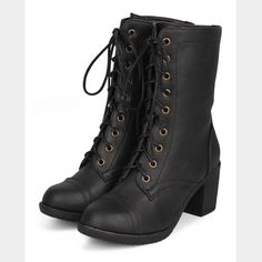 Combat ankle boots Brand new ankle boots! I'm really sad that they do not fit me. The shoe is a 6.5 but runs big. It fits like a 7-7.5. My loss, your gain! 2.5 inch heel.  Faux leather. Color: black. Comes with original box. Final Markdown!  ♦️Please keep in mind that there is a poshmark fee of 20%!!♦️ Wild Diva Shoes Ankle Boots & Booties