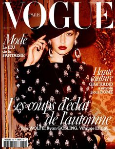 Gigi Hadid sparkles on the November 2016 cover of Vogue Paris. Marking her second French Vogue cover of the year, Gigi poses for Mario Testino. Vogue Covers, Vogue Magazine Covers, Fashion Magazine Cover, Fashion Cover, 2010s Fashion, Mario Testino, Gigi Hadid, Bella Hadid, Vogue Paris