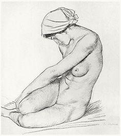Nude study. William Strang, from Zeichnungen von William Strang (Drawings of William Strang), with an introduction by Hans Wolfgang Singer, Leipzig, 1912.