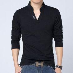 T Shirt Fashion Solid Long Sleeve Slim Fit Cotton