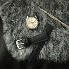 "Vintage Rolex Datejust paired with Bas and Lokes black ""Kingsman"" handcrafted padded leather watch strap. Available at www.BasAndLokes.com"