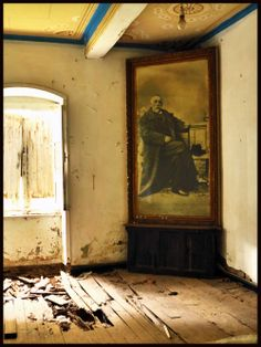 Abandoned house interior. Vathy, Ithaca, Greece
