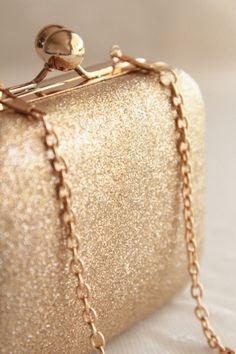 Gold glitter clutch