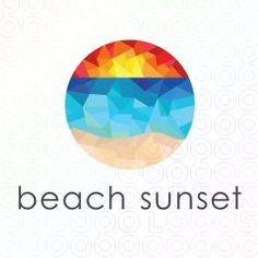 Sunset Beach Palm Tree Tropic Logo