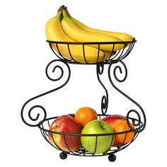 Spectrum Scroll 2 Tier Fruit Stand Black Kitchen Bath Multi-Use Vegetable 98410