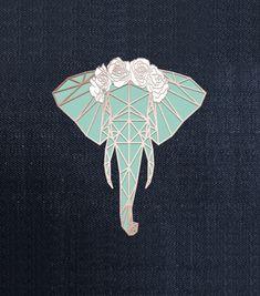 Turquoise Elephant Enamel Lapel Pin by SamillerDesigns on Etsy