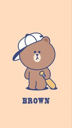 Best Quotes Wallpapers, Cute Cartoon Wallpapers, Wallpaper Quotes, Line Brown Bear, Brown Line, Hd Wallpaper Iphone, Bear Wallpaper, Rilakkuma, Cony Brown