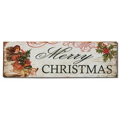 "Furnistar Decorative Wood Wall Hanging Sign Plaque ""Merry Christmas"" with Holly and Sled. Add a splash of color and style to the living room bedroom or kitchen;This wall sign celebrates the season with the words Merry Christmas in green lettering against an antiqued white background. Details of a child on a vintage sled and holly leaves and berries complete the plaque. This piece makes a statement on any wall and a great seasonal wedding Christmas or holiday gift"