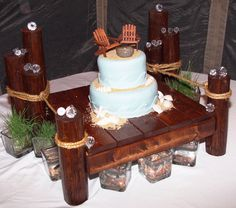 Pier style cake stand for nautical, beach, boat and lake theme weddings.